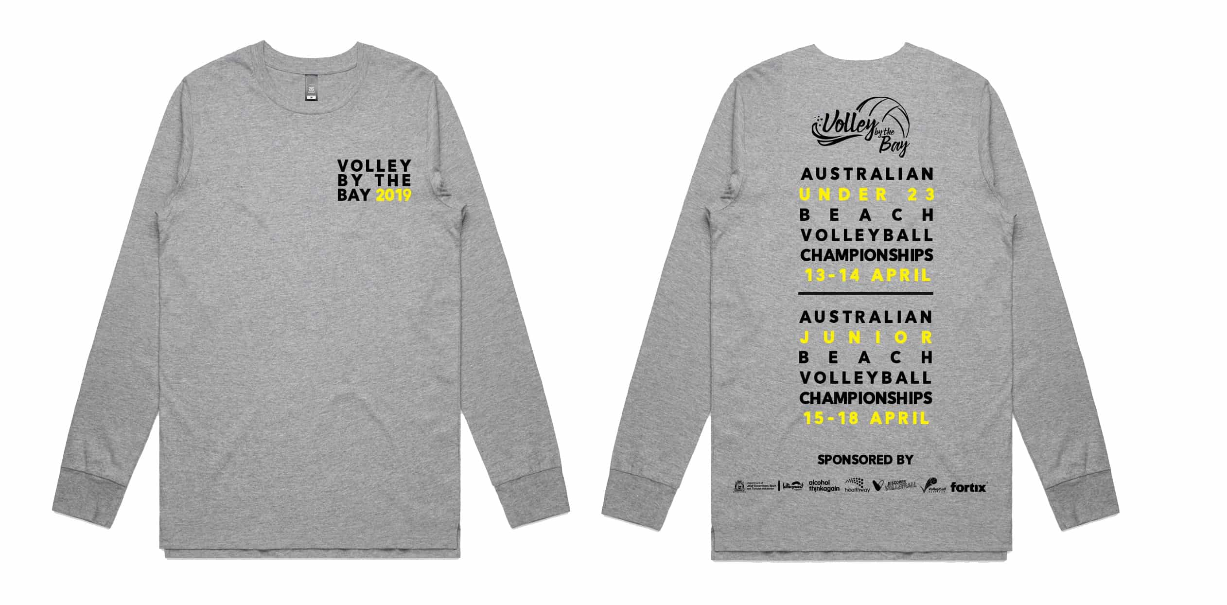 Volley by the Bay - Grey Long Sleeve Tee 1
